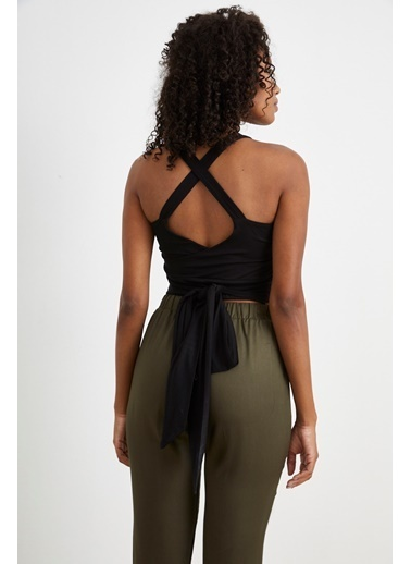 Curly Siyah, Çapraz Bantlı Crop Bluz Siyah